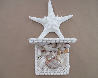 Reserved for Kathy. Seashell Wall Sconce/Shelf with Large Starfish