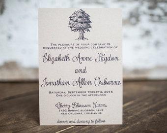 Oak Tree Wedding Invitation, Nature Invitation -Oak Tree Wedding Suite : A7 Wedding Invitations
