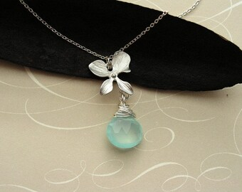 Aqua Blue Chalcedony Necklace, Rhodium Plated Orchid and Aqua Blue Chalcedony Necklace, Bridesmaids Necklace, Bridesmaids Gift