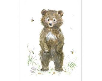 Bear Nursery Art - Giclee - Woodland Animal Print - Woodland Nursery - Bear Nursery Print - Forest Animal -  kids wall art