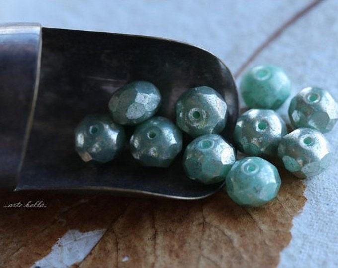 SEAFOAM MERCURY .. 10 Picasso Czech Rondelle Glass Beads 6x8mm (4905-10)