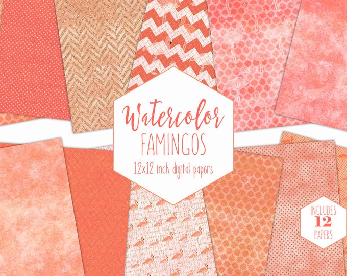 PEACH TROPICAL FLAMINGO Digital Paper Pack Commercial Use Watercolor Backgrounds Beach Scrapbook Papers Coral Orange Watercolour Patterns