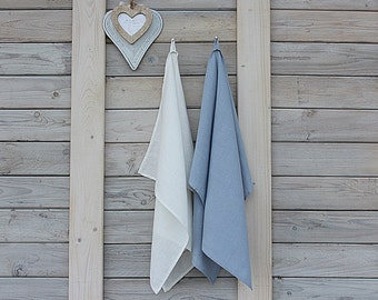 Linen kitchen towels set of 2. Cream white/Ice Blue. Hand made by LinenSky.