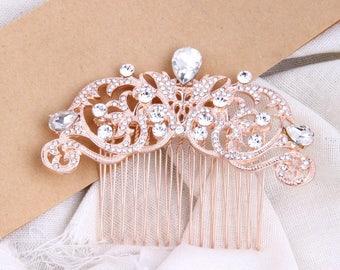 Rose Gold Bridal Hair Comb, Bridal Headpiece, Wedding Hair Comb, Rhinestone Bridal Headpiece, Crystal Bridal Hair Piece, Art Deco Hair Clip