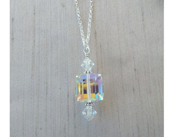 Sterling Silver Crystal Cube Necklace