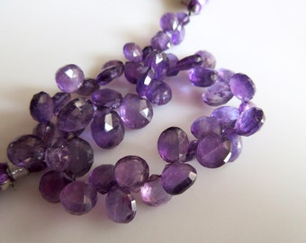 Amethyst Heart Briolettes, African Amethyst Faceted Beads, Amethyst Briolette Beads, 7mm To 10mm Each, 8 Inch Strand, SKU-AM4