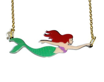 The Little Mermaid Necklace Ariel Necklace Laser Cut Layered Acrylic Mermaid Jewelry Disney