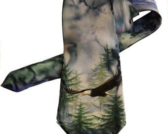 Men's Tie / Valentines Day Gift / Groomsmen Necktie / Art Necktie/ Pained Necktie/ Styling Necktie/ Artwork American Eagle