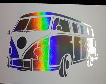 Oops Item - Volkswagen Hippy Van Camper - 5 x 7 inch Holographic Silver Foil Print