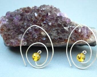 Sterling Silver and Amber Hoop Earrings-Small Hoop Earrings-Silver and Yellow Earrings-Modern Minimalist Metal Earrings-EmmaLeah Designs
