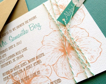 Vintage Hawaiian invitation, coral and teal, tropical Bridal Shower Invitation, Luau Party Aloha Hawaiian Wedding Party Invite