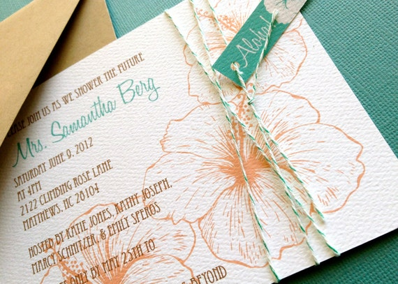 Coral And Teal Wedding Invitations: Vintage Hawaiian Invitation Coral And Teal Tropical Bridal