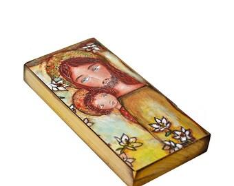 Saint-Joseph mit Kind - Giclee Drucken montiert auf Holz (3 x 6inches) Volkskunst von FLOR LARIOS