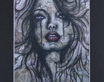 Crying Woman Art Print 11x14