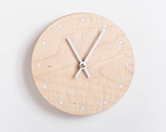 Mini Solid Wood Wall Clock - walnut maple oak or cherry