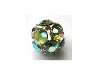 Vintage Swarovski crystal ball bead 15mm, beautiful rhinestones in metal setting- RARE