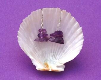 Amethyst gemstone earrings Sterling silver earrings, Aries Sagittarius Aquarius zodiac birthstone jewellery, Hypoallergenic earrings, Purple