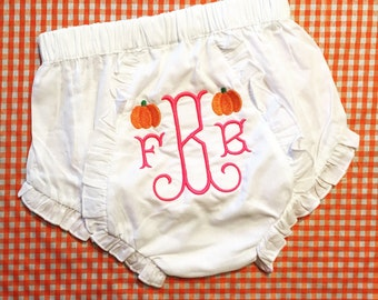 Pumpkin diaper cover / pumpkin bloomers / monogram bloomers / monogram diaper cover / fall diaper cover / fall bloomers