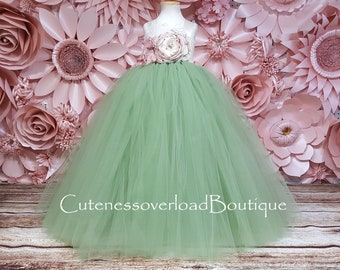 Sage Green Flower Girl Tutu Dress-Sage Green Birthday Dress-Sage Green Tutu Dress-Sage Green Dress-Sage Green Girl Tutu-Sage Green Bride