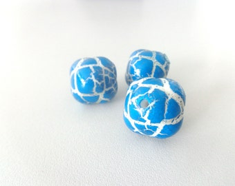 3 Royal blue white carved lucite beads