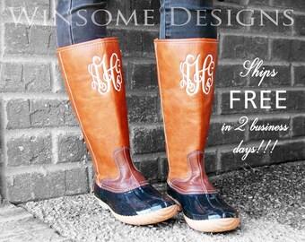 Monogram Duck Boots-Tall Monogram Duck Boots-Monogram Leather Boots-Duck Boots-Preppy Monogram Boots-Monogram Rain Boots-Winter Boots