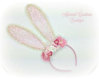 Easter Bunny Ears Headband, pink flower bunny ears, vintage headband, Easter Headband, Bunny Ears