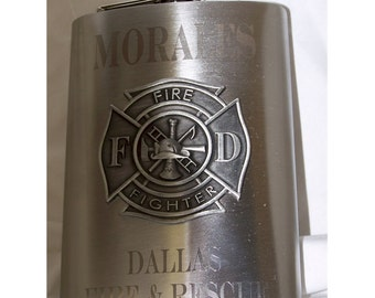 8oz Engraved Flask with Firefighter Emblem