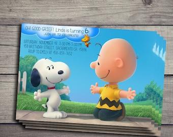Snoopy Birthday Invitation, Snoopy Birthday Invite, Charlie Brown Invitations, Charlie Brown Birthday Invites, Charlie Brown