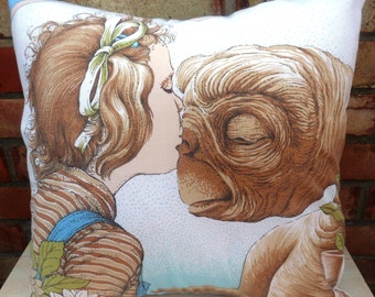 ET Movie The Kiss Vintage Fabric Cushion - handmade by Alien Couture  E.T. Elliott