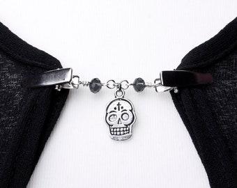 Skull Cardigan clip chain - Silver sugar skull and bead sweater clip   Shawl chain   Pashmina pin   Sweater fastening   Wrap holder