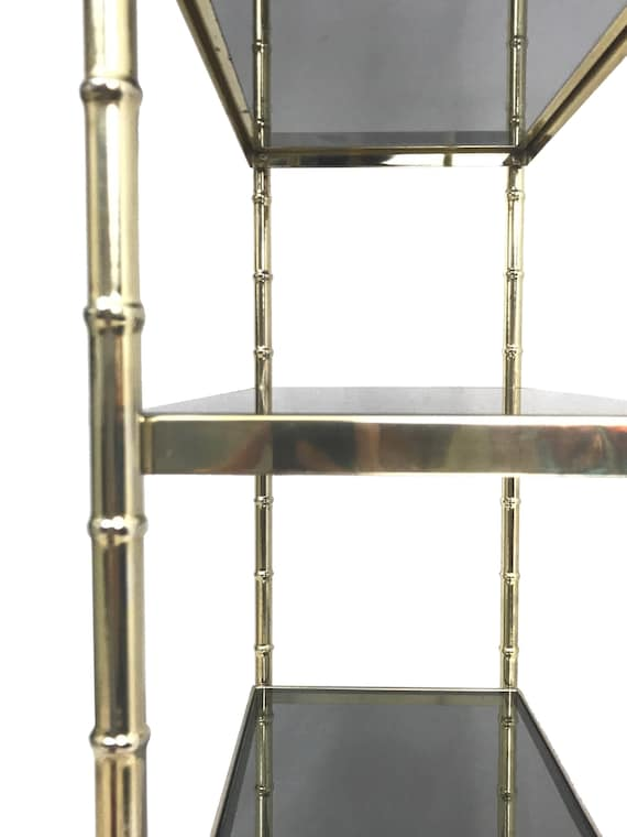 1960s Gilt Hollywood Regency Faux Bamboo Style Etagere With Smoked Glass  Shelves