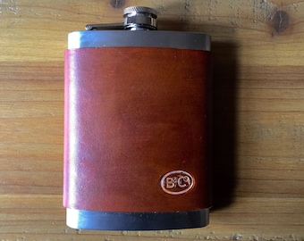Leather wrapped 8oz Stainless Steel Hip Flask