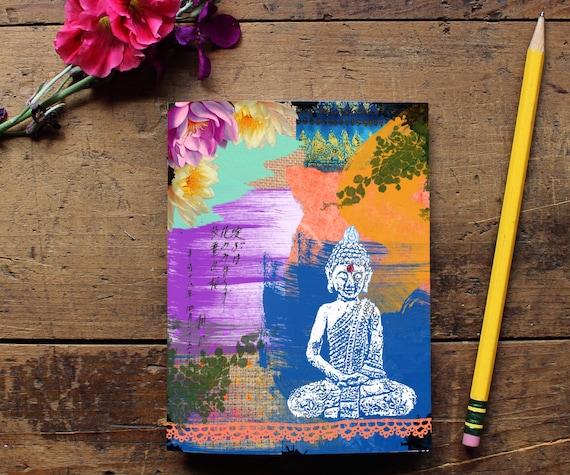 Buddha Journal - Handmade Notebook - Blank Journal - Quote Art Notebook  - Writing journal - Sketchbook - Yoga Lover Gift - Notepad