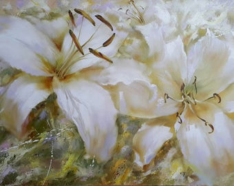 Painting oil flower Lilies  flowers Original artwork oil painting floral realism  Garden Flowers white lilies painting Home Decor wall art