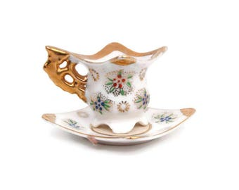 Vintage Miniature Teacup and Saucer Square Design Encrusted Gold Footed Tea Cup Hand Painted Enameled Flowers Childs Tea Set Tea Party