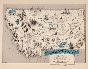 30's Vintage MONTANA Picture Map Pictorial Montana State Cartoon Map Print Gallery Wall Art Birthday Wedding Map Collector Gift