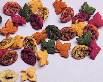 TINY LEAVES with SHANK Autumn Fall Orange Green Yellow Dress It Up Craft Buttons