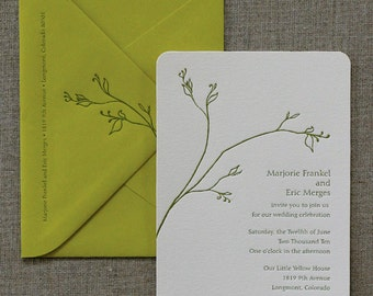 Letterpress Invitation Sample, Summer Celebration, Zen Branch