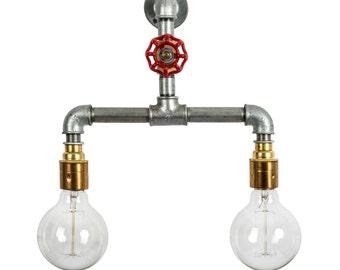 Steel Pipe Light Industrial Rustic Wall Brass Lamp Holder Light E27