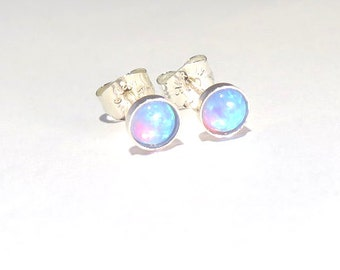 Opal Studs, Blue opal studs, Opal earrings, Opal Posts, Tiny opal studs, tiny galaxies, Opal jewlery, October birthstone, October studs