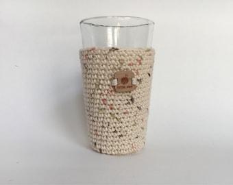 Pint Glass Sleeve, Shoreline - beer cozy - pint glass cozy - crochet cup sleeve - cold cup sleeve cold beverage sleeves