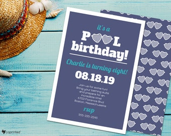 Cool Pool Party Birthday Party Invitation - beach, summer, retro, celebration, fun, playful, cards, pool, template