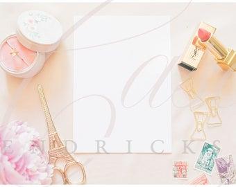 Parisian themed blank stationery mockup stock photo