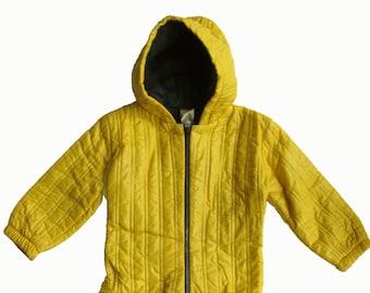 Vintage yellow onepiece vintage ski onepiece yellow coat 2 years  Boy girl vintage yellow coat french one piece coat / Vintage skiing