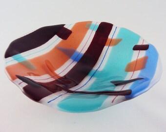 Multi-colored Wavy Glass Bowl