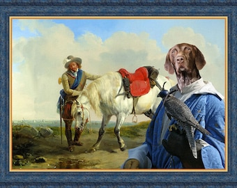 German Shorthaired Pointer Dog Art CANVAS Print Fine Artwork  Dog Portrait Dog Painting Dog Art Dog Print