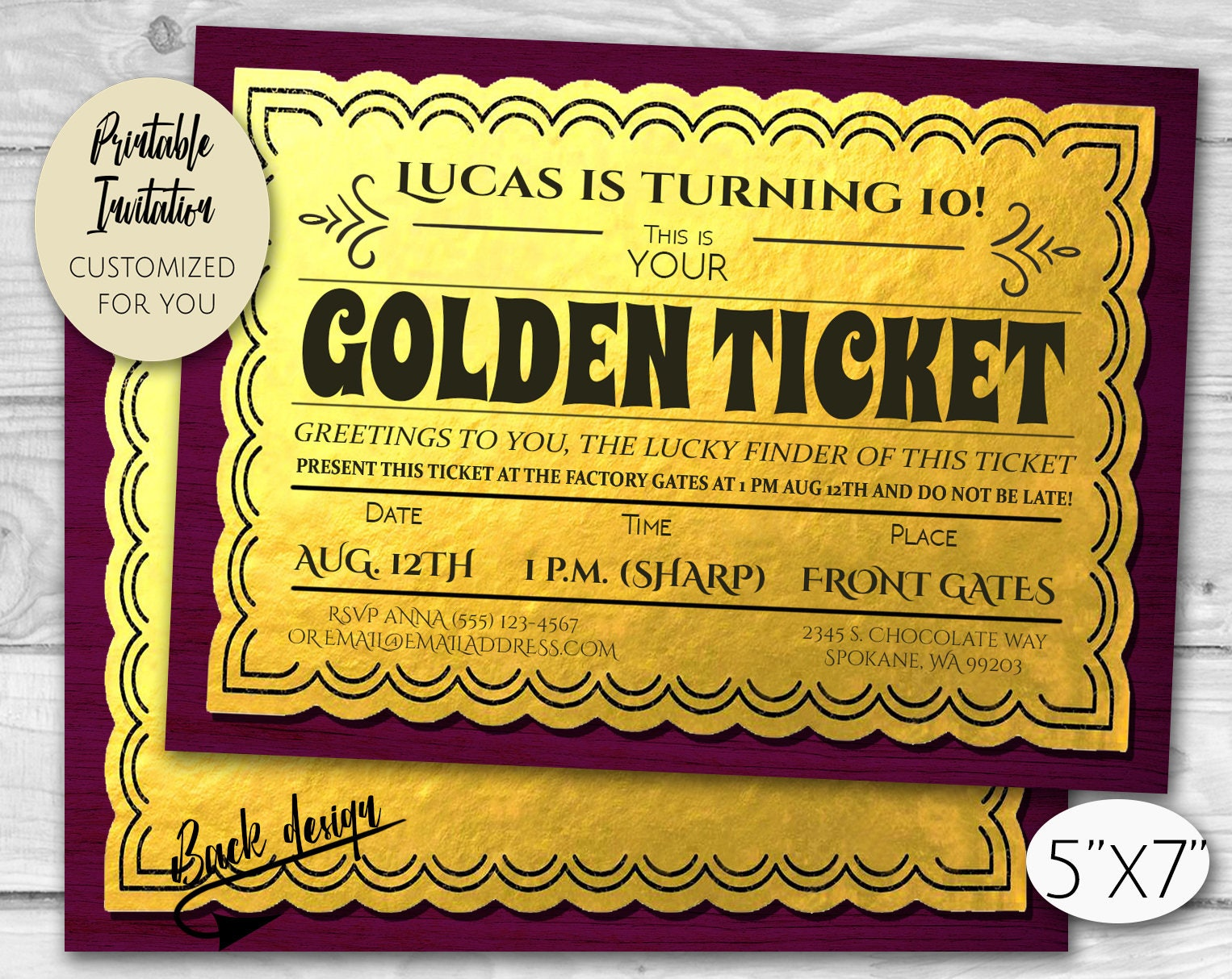 Golden Ticket Chocolate Factory Birthday Party Invitation