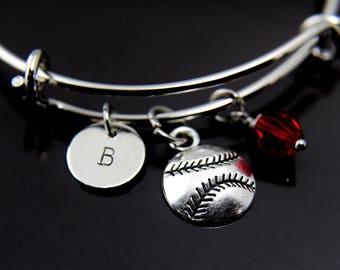 Softball Bracelet Baseball Mom Gift Silver Softball Charm Bangle Baseball Charm Softball Charm Personalized Bracelet Initial Charm
