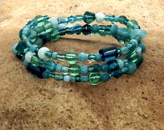 Turquoise Memory Wire Bracelet Sea Glass Boho Style Bohemian Wrap Bracelet Stacked