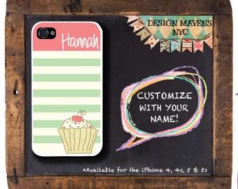 Cupcake iPhone Case, Personalized iPhone Case, Monogram iPhone Case, Striped Case, iPhone 5, 5s, 5c, iPhone 6, 6 Plus, SE, iPhone 7, 7 Plus